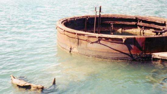 The Exposed Portion Of The Wreckage Of The U.S.S. Arizona In Pearl Harbor, Hawaii.